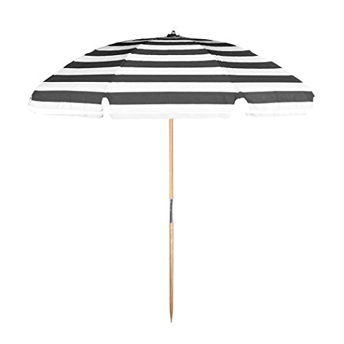 7.5 ft.Steel Commercial Grade Beach Umbrella with Ash Wood Pole (Black/White Stripe, 7.5 ft Canopy - Add Carry Bag)