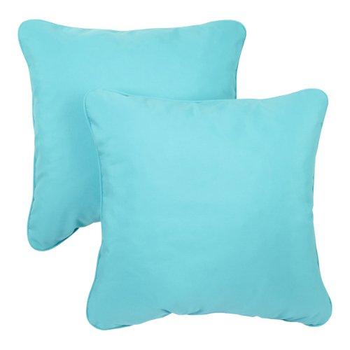 ella Indoor/Outdoor 18-inch Corded Pillow, Canvas Aruba, Set of 2 ()