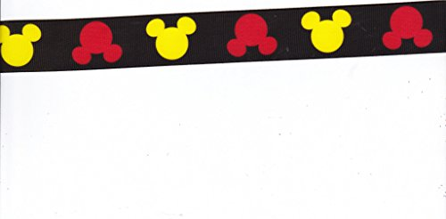 Grosgrain Printed Disney Mickey Heads Ribbon - Black - 3 Yards