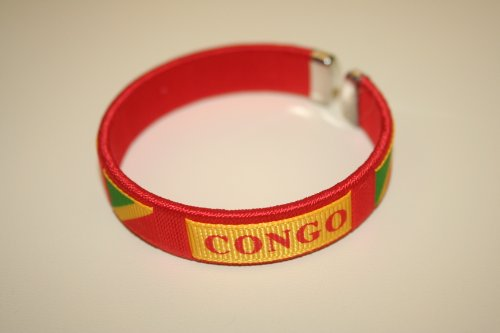 (Congo Republic Red Country Flag Flexible Adult C Bracelet Wristband... 2.5 Inches in Diameter X .5 Inches Wide ... New)