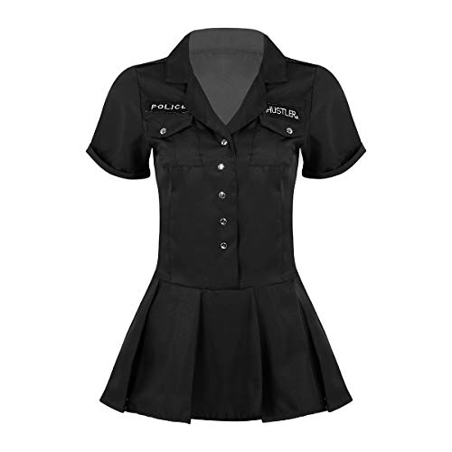 inlzdz Women's Sexy Police Officer Uniform Dirty Cop Costume Halloween Cosplay Fancy Dress Outfit Black Large ()