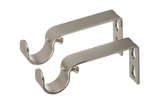 Ivilon Fixed Brackets for Curtain Rods - for 7/8 or 1 Inch Rods. Set of 2 - Satin Nickel