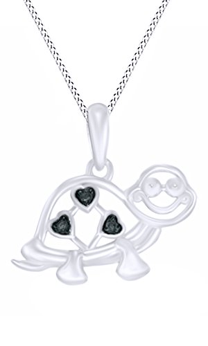 Jewel Zone US Round Cut Black Natural Diamond Accent Heart Turtle Pendant Necklace in 14K White Gold Over Sterling Silver