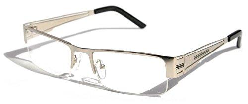 Men Rectangular Half Rimless Metal Reader Reading Glasses Sophisticate look (Silver, - Mens Sexy Glasses