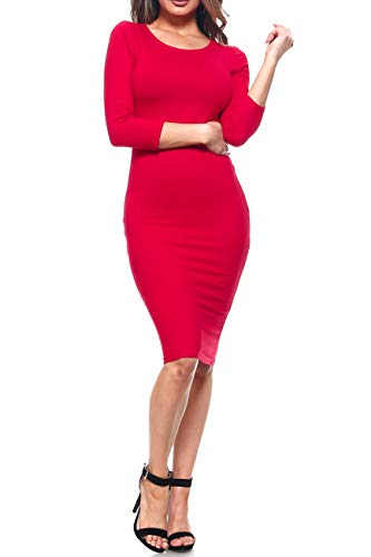 (ICONOFLASH Women's 3/4 Sleeves Bodycon Midi Dress (Crimson,)