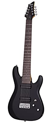 Schecter C-8 DELUXE Satin Black 8-String Solid-Body Electric Guitar, Satin Black