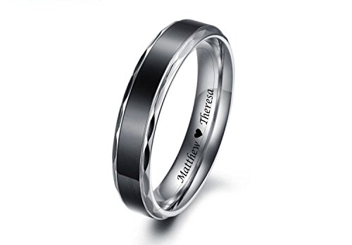 (Personalized Men's Black Band Scalloped Edge Stainless Steel Promise Ring Custom Engraved Free)