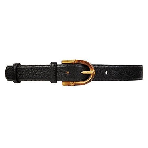 Gucci Bamboo Buckle Leather Belt 322954 1000 (34) - Leather Pebbled Buckle Belt