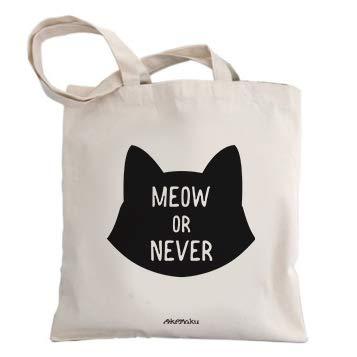 Okemaku Bolsa Tela Mensaje Meow Or Never Logo Silueta