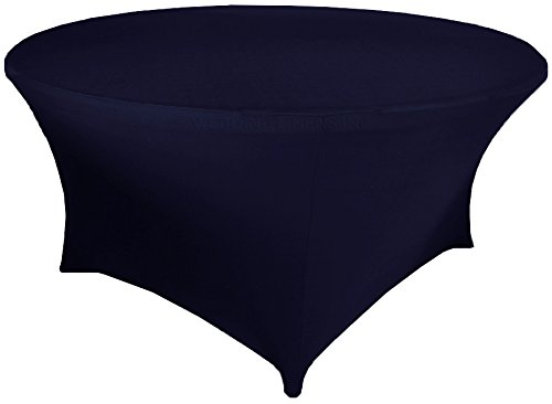 Wedding Linens Inc. Wholesale (200 GSM) 5 FT (60 in) Round Spandex Stretch Fitted Table Cover Tablecloths Navy Blue]()
