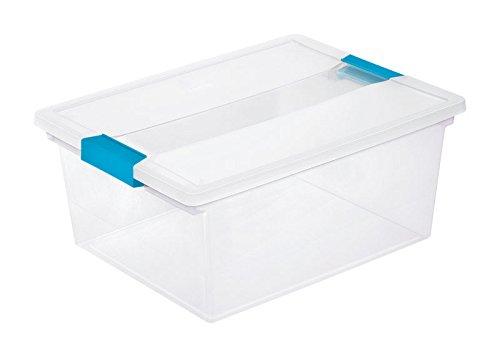 Base Bottom Latch - Sterilite 19658604 Deep Clip Box, Clear with Blue Aquarium Latches, 4-Pack