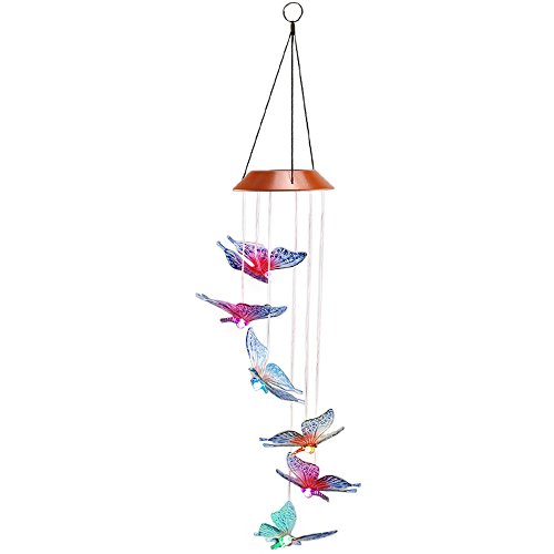 Bamboo Rain Chain (Anpatio Light Control Solar Powered Butterfly Wind Chime Outdoor Waterproof Colour Changing LED Light Romantic Garden Yard Balcony Decoration Best Gift)