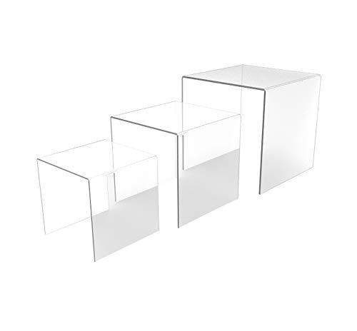 "FixtureDisplays Set of 3 Clear Acrylic Display Riser (5"", 6"", 7"") Jewelry Showcase Fixtures 13164-567 13164-567"