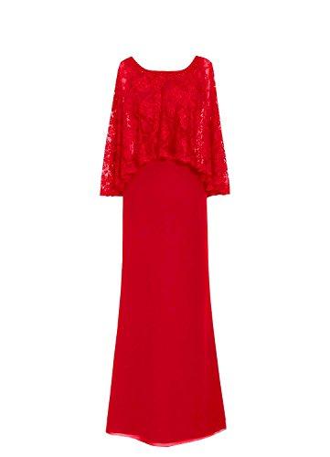 Chiffon Spitzen der Abschlussball Braut formale Kleider Korne HWAN Rot kleidet Mantel Mutter AwXdqBq