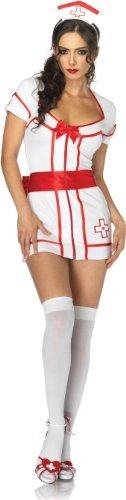 [Leg Avenue Women's 2 Piece Knockout Nurse Dress With Sweetheart Back And Head Piece, White/Red,] (Knock Out Costumes)