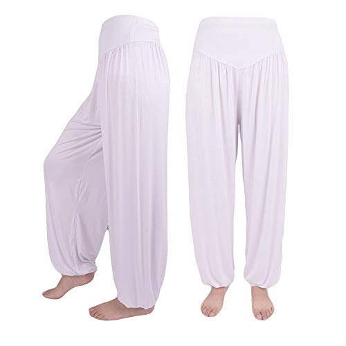 Hivot Wide Leg Pants for Women Dance Harem Pants Lounge PantsYoga Sports Trousers Beach Flared Pants White (Hip Hugger 1970s)