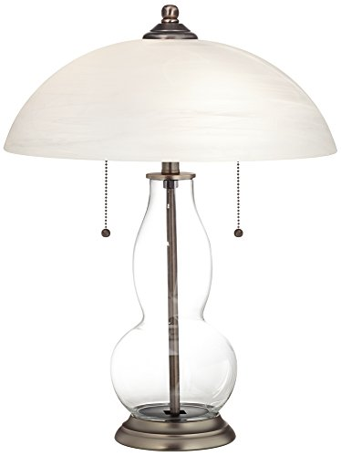 Alabaster Contemporary Table Lamp - Clear Fillable Gourd-Shaped Table Lamp with Alabaster Shade