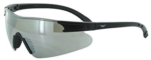 Global Vision Eyewear Black Frame X-Port Safety Glasses with Flash Mirror - Com Zero Uv