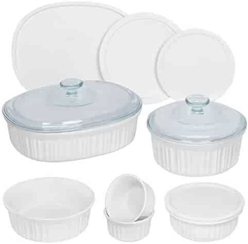 CorningWare French White Round and Oval Ceramic Bakeware, 12-Piece