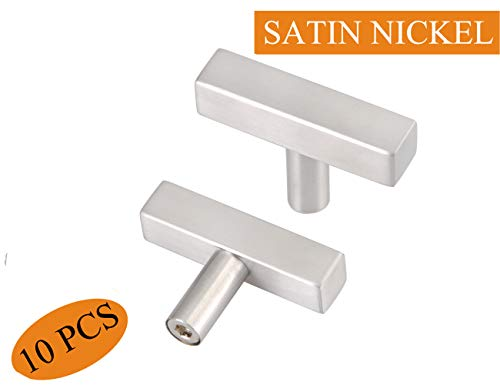 Silver Cabinet Handles Single Hole 2 Inch Stainless Steel Handles for Kitchen Cabinet Bathroom Cabinet Pulls 10 Pack 50mm Square Single Hole Cabinet Knob ()