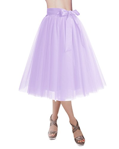 (DRESSTELLS Knee Length Tulle Skirt Tutu Skirt Evening Party Gown Prom Formal Skirts Lavender S-M)