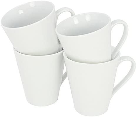 com-four® 4x Taza de café hecha de porcelana - Taza de café en diseño atemporal - Cafetera para té y vino caliente - 250 ml por taza