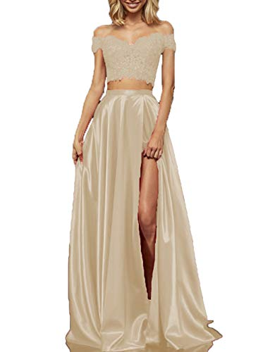 (Off The Shoulder Lace Satin Prom Dresses Long Formal Evening Gown with Slit for Juniors Champagne)