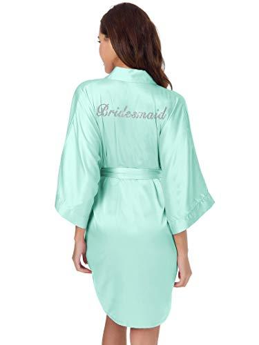 (SIORO Silk Robes for Bridesmaid Personalized Satin Bathrobe Wedding Party Short Kimono Dressing Gown,Mint Green XL)