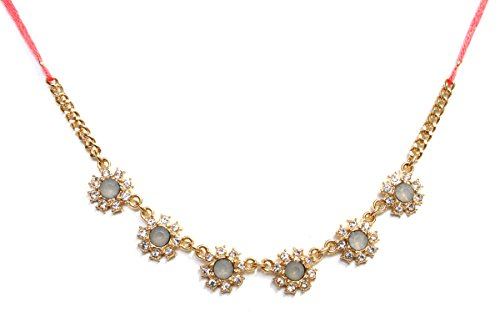 2LIVEfor collier pour femme fleurs et pierres strass doré