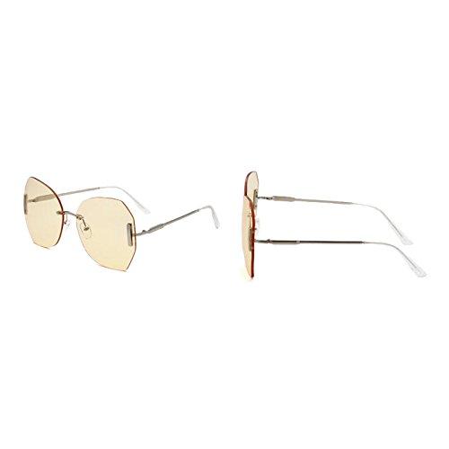 de Gradient gafas sol UVA sin cristal superficie retro tea protección Gafas WLHW de corte UV Candy femeninas marco Color UVB sol gradiente yellow anti de de xYOZBCqw