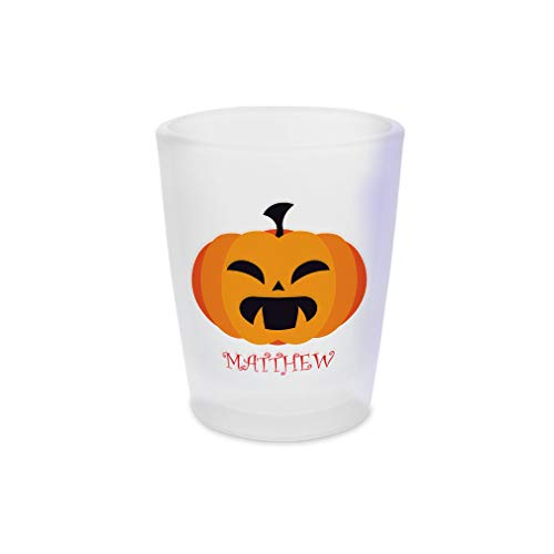 (Custom Text Personalized Pumpkin Halloween Spooky Ceramic Shot Glass Cup)