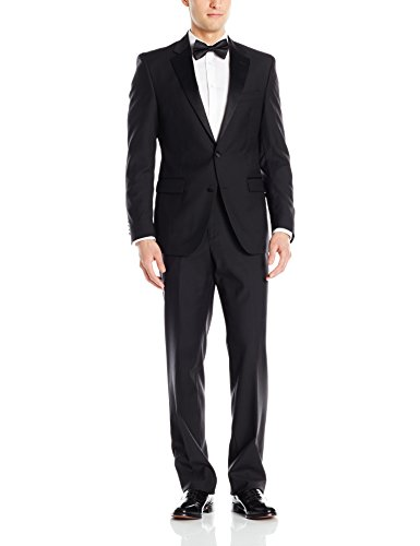 Kenneth Cole New York Men's 2 Button 100% Wool Tuxedo, black, 38 Regular
