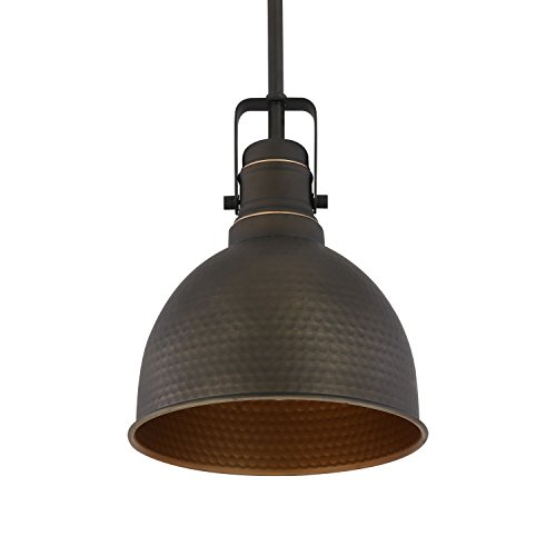 Light Society Hampshire Farmhouse Pendant Lamp, Hammered Oil Rubbed Bronze with Gold Interior, Vintage Industrial Modern Lighting Fixture (LS-C248-ORB) by Light Society (Image #2)
