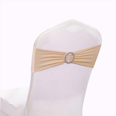 gfccスパンデックス伸縮性椅子サッシwithバックルスライダサッシリボン、ウェディング宴会パーティー椅子Bands ( 12個、シャンパン) B0711F48FR