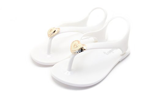 Chemistry Two hearts Girl Kid children Flat Ankle Strap T Strap Sandals Slip On Shoes White 1qVmSDntI
