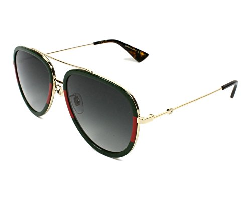- Gucci GG0062S 003 Gold/Green GG0062S Pilot Sunglasses Lens Category 3 Size 57