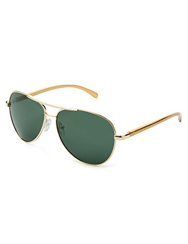 amp; Gold sol hombre de Gafas Dark WELUK Green para qxzaFTwRZB