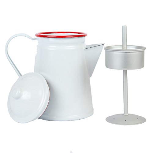 Enamelware 6 Cup Coffee Pot with Perculator - Solid White with Red (Enamelware Coffee)