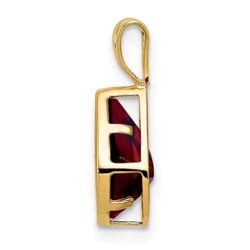 14K Yellow Gold 9x6mm Pear Garnet Bezel Pendant from Roy Rose Jewelry