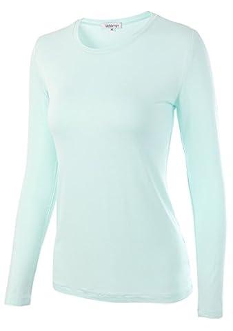 Vetemin Women Basic Soft fit Long Sleeve Round Crew Neck T shirt Bottoming shirt Light Green XL