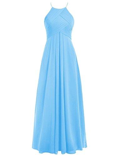 Long Pleating Gowns Party Blue Bridesmaid Cdress Dresses Wedding Prom Halter Chiffon attqX