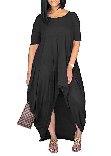 Yeshire Women's Short Sleeve High Low Asymmetrical Ruched T Shirt Tunic Tops Long Maxi Dress X-Large Black