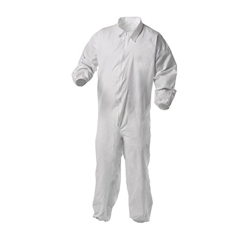 Kleenguard A35 Disposable Coveralls (38930), Liquid and Particle Protection, Zip Front, Elastic Wrists & Ankles (EWA), White, 2XL, 25 (Kleenguard A35 Liquid)
