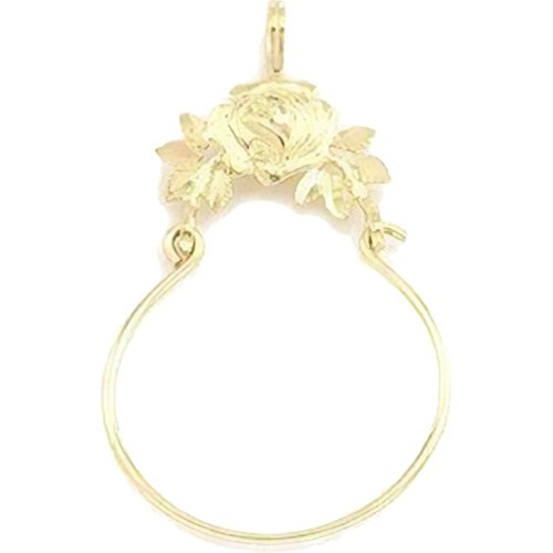 14K Gold Rose Charm Holder Flower Floral Jewelry - Rose Gold 14k Charm