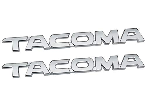 2Pcs TACOMA Nameplate Letter Emblem, 3D Badge Replacement for Toyota Tacoma 2005-2015 Door Tailgate Decals Sticker (Chrome) ()
