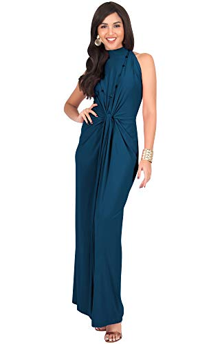 KOH KOH Plus Size Womens Long Sleeveless Sexy Vintage Cocktail Slimming Party Evening Summer Sun Prom Bridesmaid Wedding Guest Sundress Gown Gowns Maxi Dress Dresses, Blue Teal 3XL 22-24