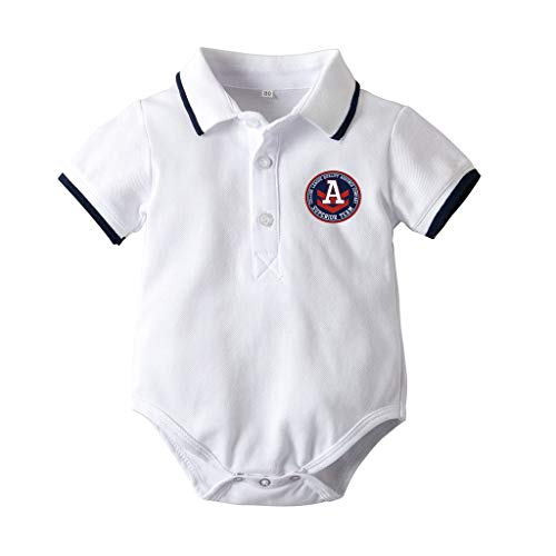 SSZZoo Infant Baby Boys Gentleman Short Sleeve Letter Printed Polo Collar Bodysuit Romper Clothes College Style Dark Blue (White, 18M-24Months)