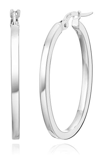 Roberto Coin Women's Curved Oval Hoop Earrings, White, One Size