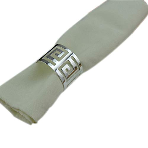 ZideTang Hammered 1.77-inch Stainless Steel Metal Napkin Ring (Silver, 6) ()