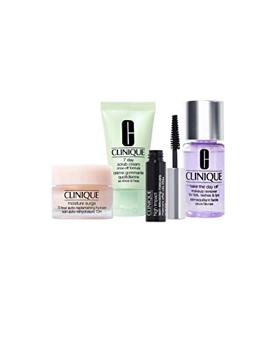 Clinique Take The Day Off Makeup Remover ~ 7 Day Scrub Cream ~ Moisture Surge Hydrator ~ High Impact Mascara ~ 4 Piece Travel Size Set -